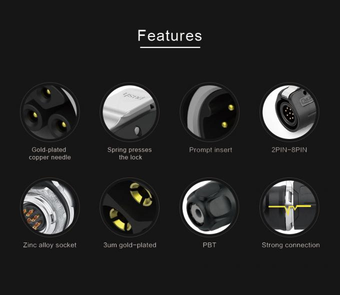 Four Pole Or Single Pole Round Waterproof Cable Connector Garden   2 Pin To 12 Pin Stage Lighting  ;'