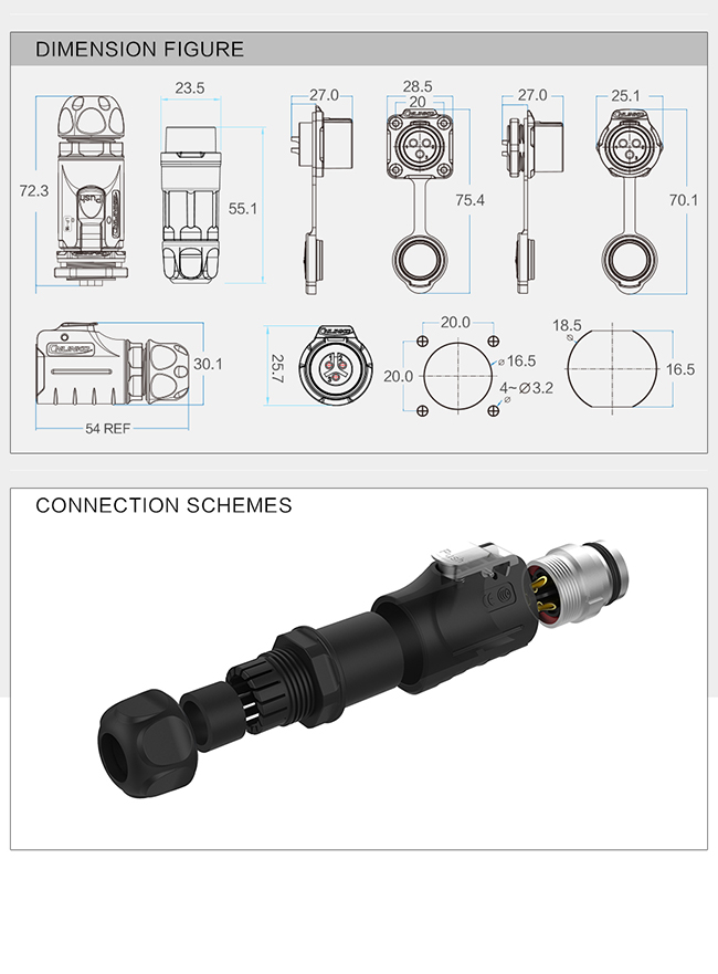 M16 Military  Waterproof Data Connector , Communication Machine Female Male Circular Connector 8 Pin