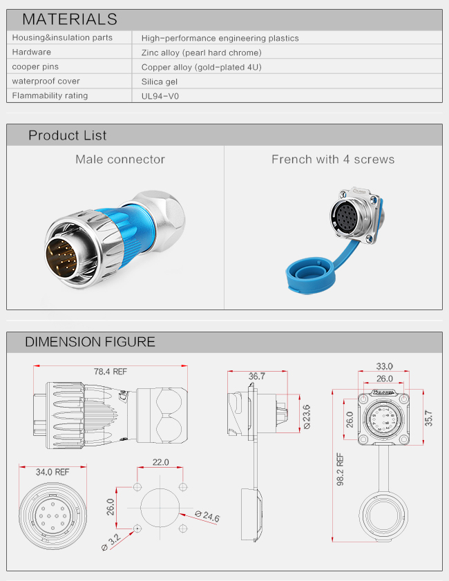 Metal Aviation  24 Pin Sealed  Outdoor Waterproof Connectors For Audio Vide Telecommunication  Medical Equipment