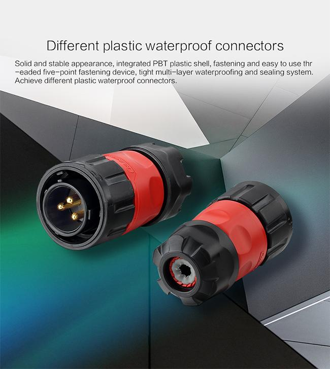 Plastic Red    Circular Waterproof Plug Connector For Lighting , Multi Plug Connector