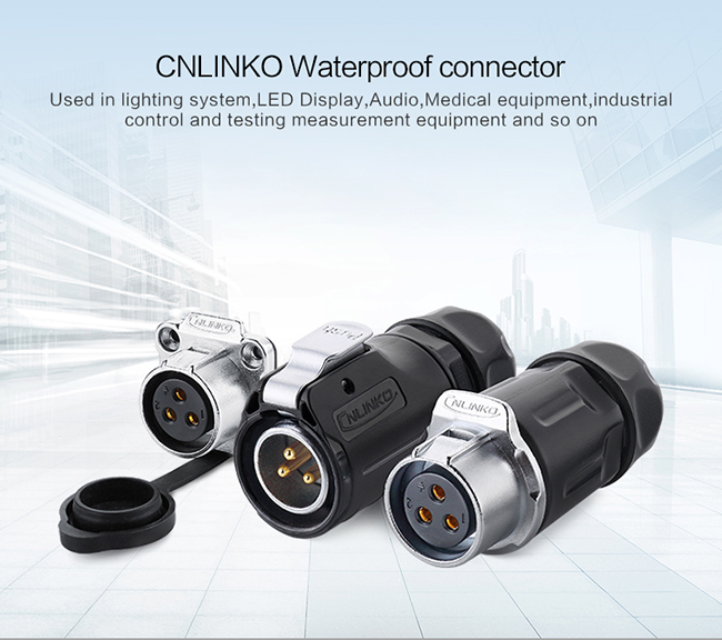 Cable Waterproof Circular Connectors CNLINKO LP20 3 Pin Molded Black Easy To Operate