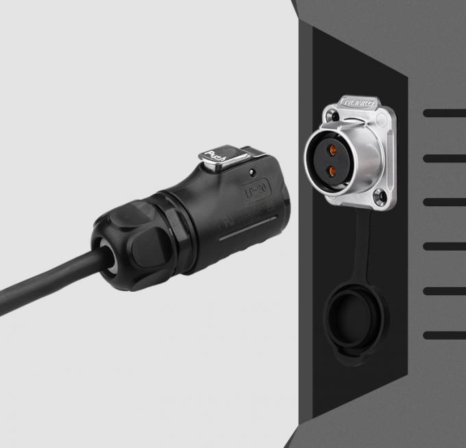 Industy Equipment Ip67 Panel Mount Connector CNLINKO LP M20 2 Pin Quick Plug Half Metal 20A 500V