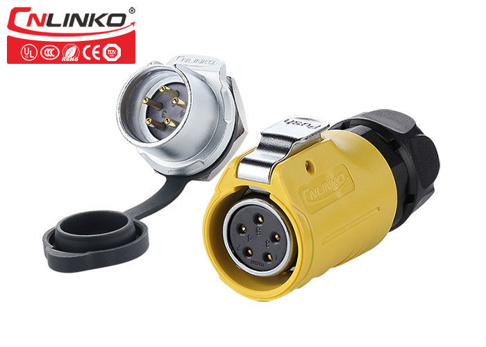Plastic 5 Pin Power Outdoor Waterproof Connectors ,  Yellow  Circular Waterproof Din Connector