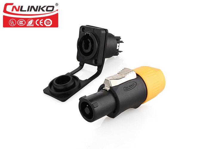 Lockable 3 Pin Circular Power Connector Cnlinko For Audio Video / LED Display