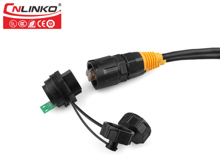 8 Port Waterproof Circular Connectors , Electrical Cord Connector Cat5 Bayonet Fitting Panel Mount