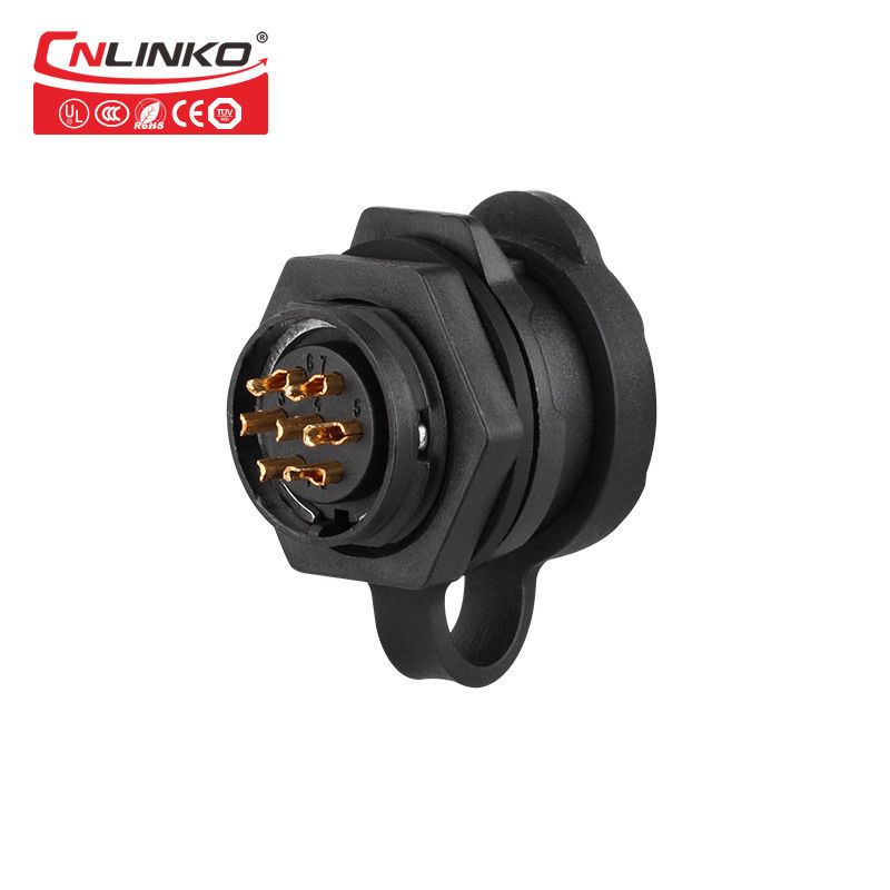 Plastic Waterproof Signal Connector M16 7 Pin 10A Power Plug Socket Rear Locking For LED Display