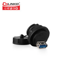 Black    Waterproof USB Connector , Dual   Panel Mount Usb Coupler  Female Both Side  A Type Overmoulding
